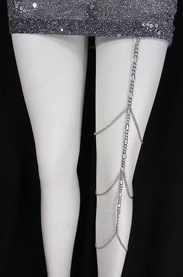 New Women Silver Thigh Leg Chain Garter Extra Long Strands Fashion Body Jewelry