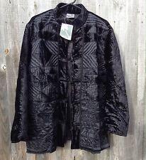 Vintage Phool Velvet Embroidered Quilted Black Coat Jacket Boho On Trend M Bnwt