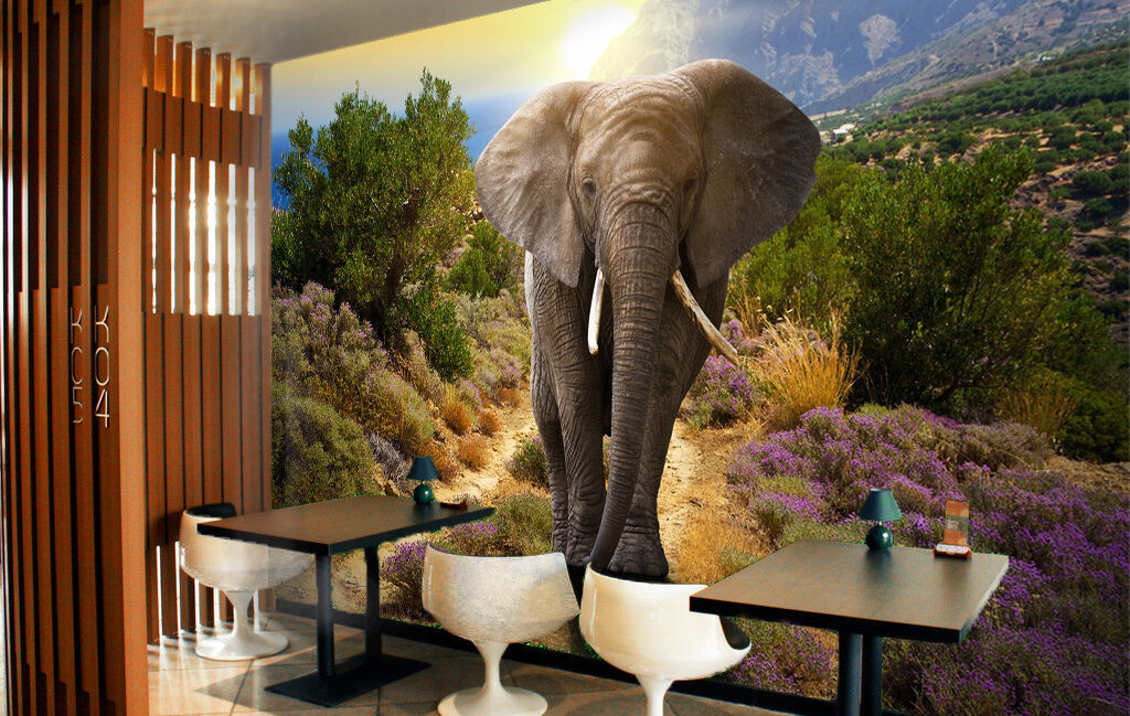 3D Sunset Elephant Trees Wall Paper wall Print Decal Wall Deco Indoor wall Mural