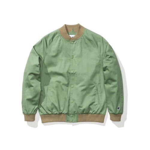$99.99 Undefeated Men Sideline Twill Bomber Jacket green sage