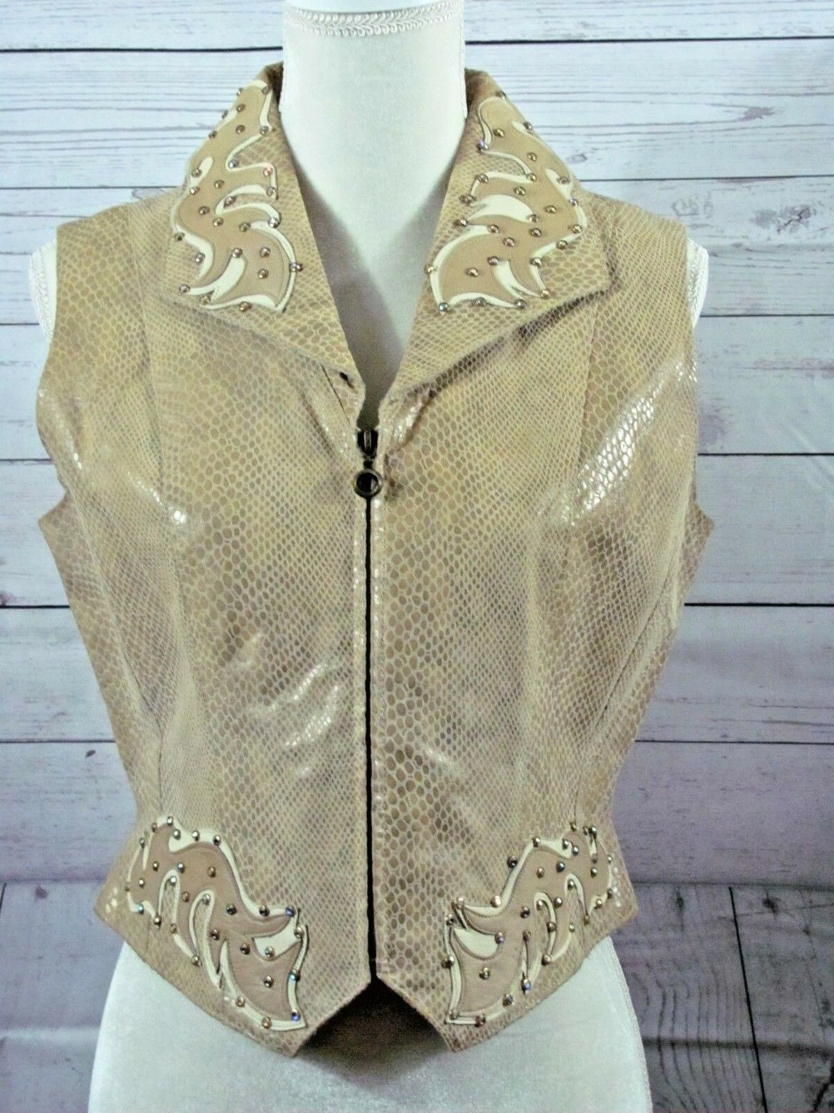 Paolo Paolo Paolo Santini Vest Leather Womens 10 Snake Print Leather Cutouts Jewels Tan be6ecb