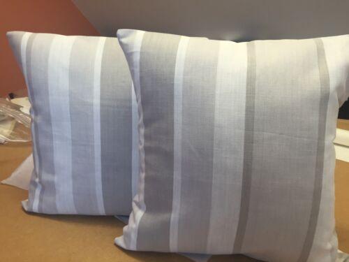 Dos Laura Ashley Hecho a Mano Cushion Covers en toldo a rayas gris paloma