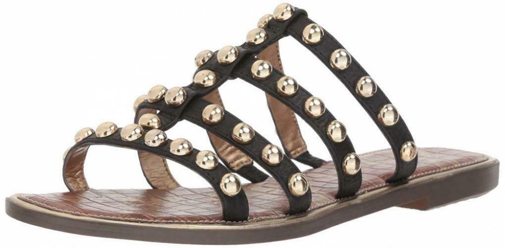 Sam Edelman Glenn Black Leather Sandals Size 8 M