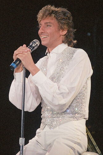 """12""""*8"""" concert photo of Barry Manilow playing at Wembley in 1986"""