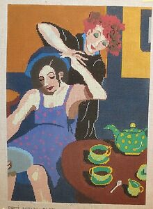Patti-Mann-Janet-Fisher-Two-Girls-Grooming-Handpainted-Needlepoint-Canvas
