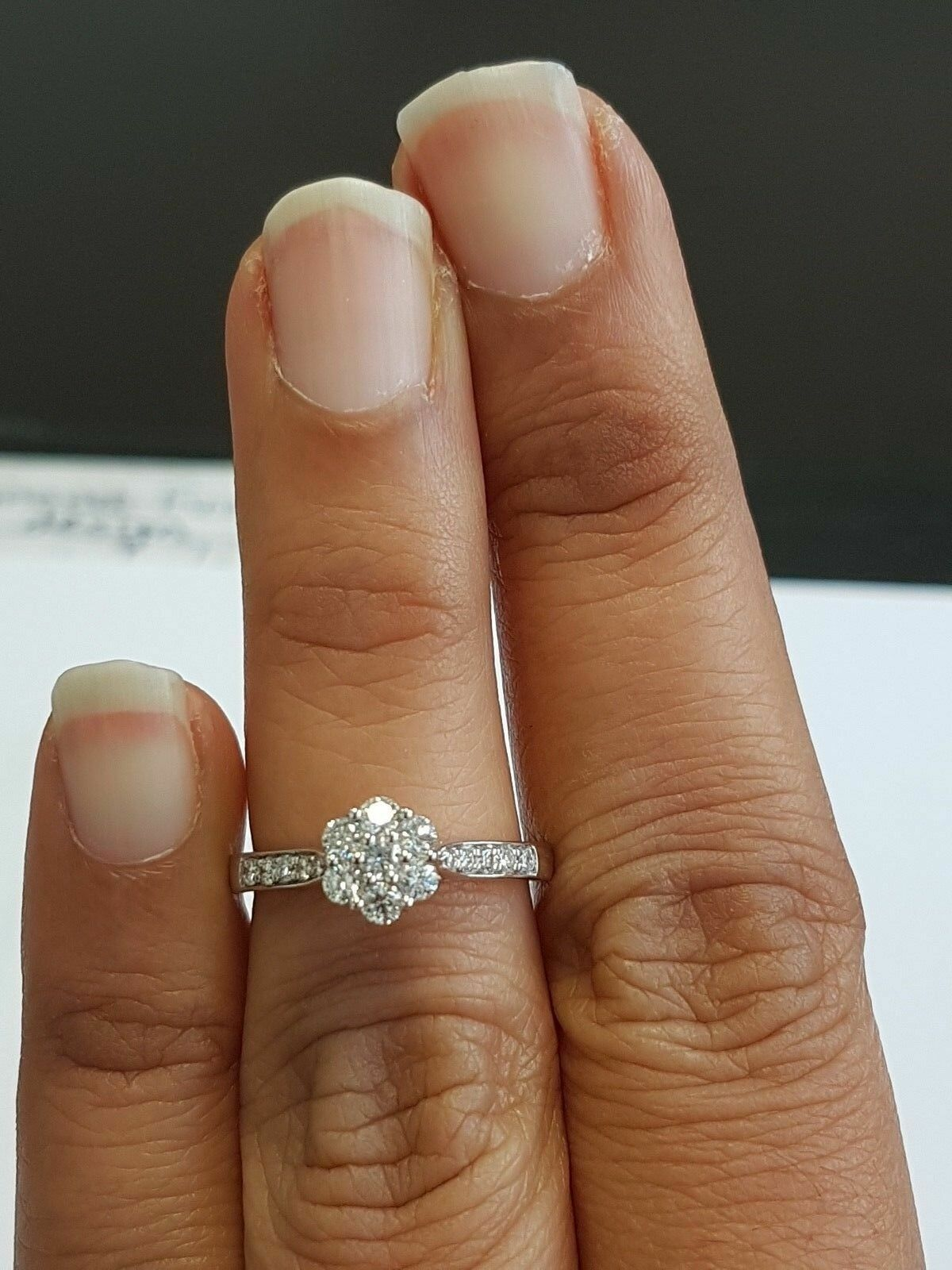 RRP  0.75Ct Natural Round Diamond Cluster Ring,Hallmarked White gold