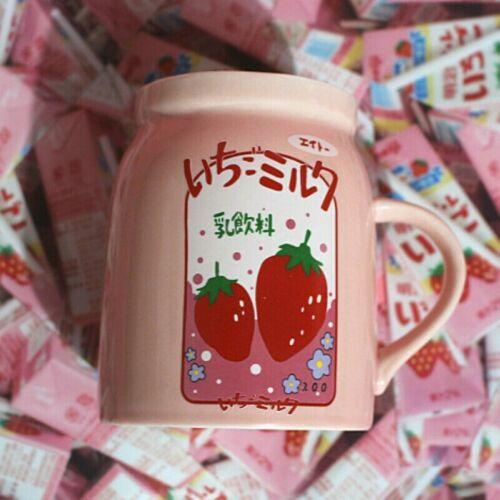 Strawberry Cup Ceramic Japanese Mugs Girl Kawaii Cute Pink Tea Coffee Milk Sweet