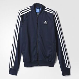 entusiasmo lavoratore riflettere  Adidas Felpa Acetato Original Track Jacket SUPERSTAR AY7061 Blu Navy -  Bianco | eBay