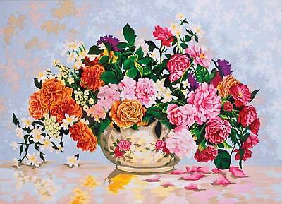 Roses in a China Bowl Grafitec Printed Tapestry//Needlepoint Canvas