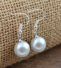 Beautiful New Silver Fashion Jewelry Classic White Pearl Dangle Drop Earrings