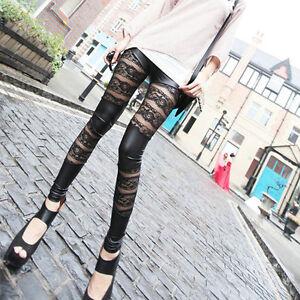 Frauen-Leder-Mesh-Lace-Skinny-Hosen-Stretch-Leggings-Pencil-Hose-best