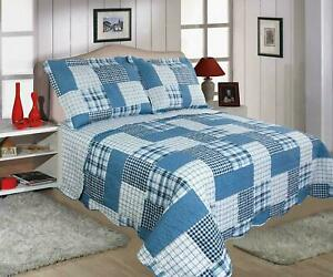 Patchwork Quilted Bedspread Set Single