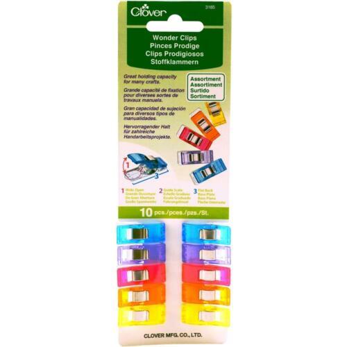 Clover Wonder Clips Assorted Colors 10//Pkg 3185