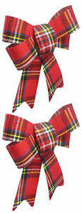 2-Pack-Medium-Size-Christmas-Holiday-Multi-color-Plaid-Bows-Gift-Wreath-Decor
