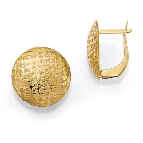 Leslies 14k Yellow Gold Textured Ladies Hinged Hoop Earrings 18mm x 13mm