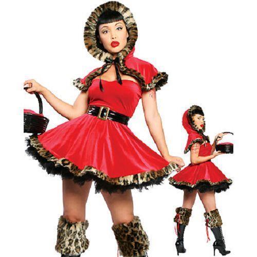 Costume donna vestito carnevale CAPPUCCETTO ROSSO leopardato maschera DL-018