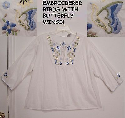 EMBROIDERED BIRDS & Flowers 100% Cotton PEASANT Festival Top Blouse XL 1X