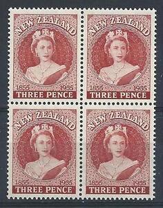 New Zealand 1955 Sc# 303 set Queen Elizabeth block 4 MNH