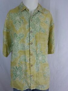 Tommy-Bahama-Men-039-s-100-Linen-Hawaiian-Camp-Floral-Yellow-Green-Shirt-L-Large