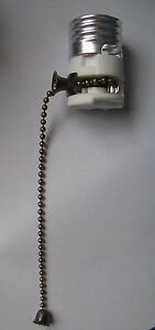 PORCELAIN-PULL-CHAIN-LAMP-LIGHT-SOCKET-INTERIOR-w-Antique-Finish-Chain-SO210A