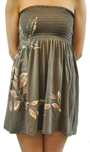 New Ladies Leaves Printed Sun Dresses Mini Boob Tube Tops 8-20