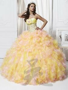 NWT-Quinceanera-Collection-26709-Size-8-jeweled-corset-ball-gown-Yellow-amp-Pink