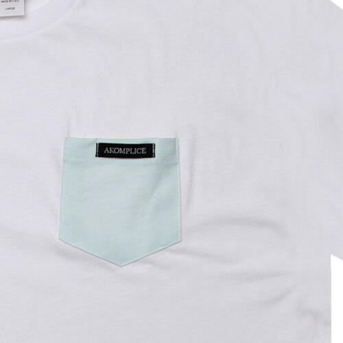 CHANGNPOCKWBL $35.00 Akomplice Color Changing Pocket Tee white // blue