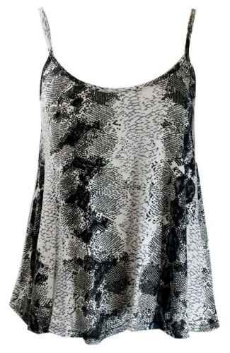 New Womens Print Sleeveless Swing Cami Strappy Vest Top Ladies Flared Plus Size