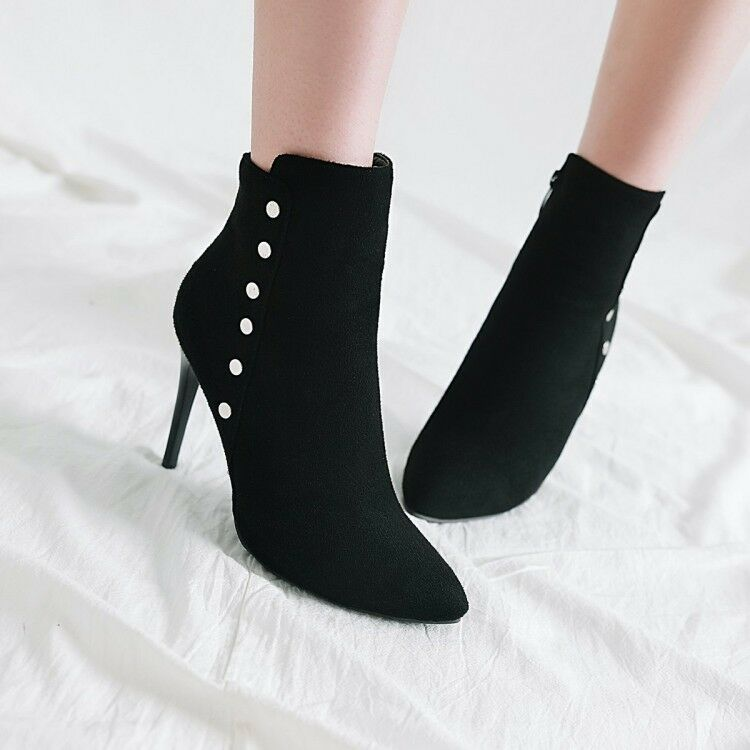 Women Pointed Toe High Heels Ankle Boots Stiletto Faux Suede Party shoes Fashion