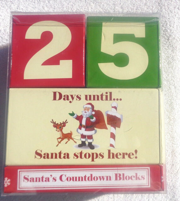 Days Until Christmas Countdown.Child To Cherish 25 Days Until Christmas Countdown Blocks Santa Stops Here Nib