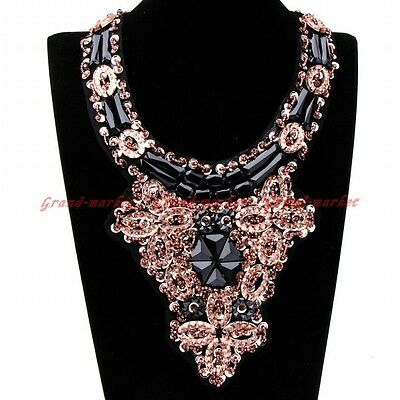Fashion Bohemia Handmade Gold Sequin Black Resin Choker Statement Bib Necklace