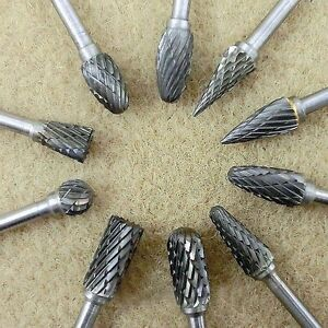 10pcs 1//4/'/' Tungsten Head Carbide Burrs For Rotary Drill Grinder Carving Bit New