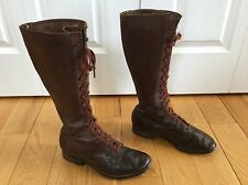 Vintage Antique TALL Brown Leather U.S. Roaring 1920's 20s Men's Boots Size 8 D