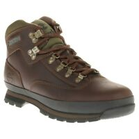New Mens Timberland Brown Euro Hiker Leather Boots Lace Up