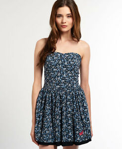 New-Womens-Superdry-50-039-s-Meadow-Print-Dress-Meadow-Petal-Navy