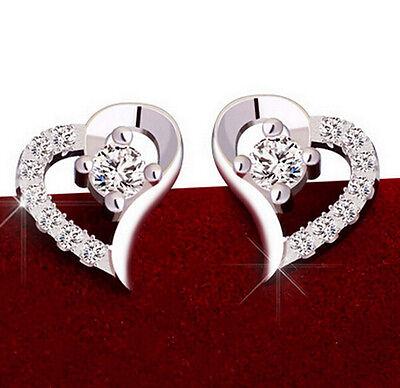 new Jewelry Ear Stud Silver Crystal Women  Leaf Love Heart  Rhinestone Earrings