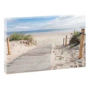 Strand-Bild-Meer-Duenen-Nordsee-Fotoleinwand-Poster-Wandbild-100-cm-65-cm-624