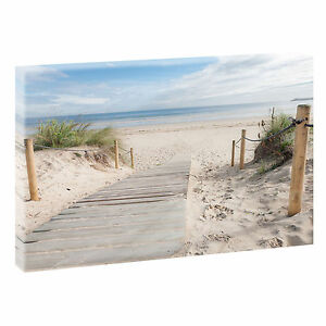 Strand-2a-Bild-Strand-Meer-Duenen-Nordsee-Leinwand-Poster-XXL-100-cm-65-cm-624