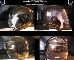 Casque-jet-Scooter-moto-couleur-chocolat-metalise-Damier-Or-Homologue-taille-S-M