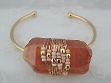 Crystal Shard Cuff Bracelet Brown Amber Coating Gold Fashion Jewelry New