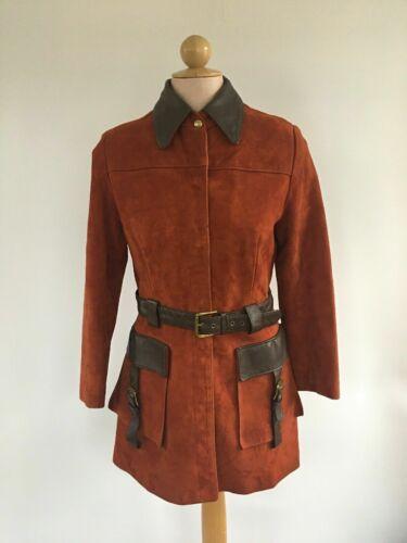 Vintage 70s Nathans Womens Leather Jacket Burnt Or
