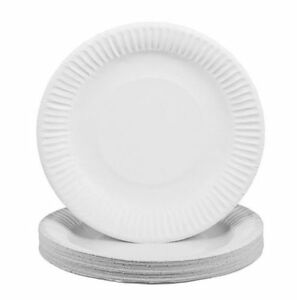 """Pack Of 300 White Disposable Paper Plates 9/"""" perfect for BBQ and parties"""