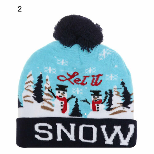 LED Christmas Hats Beanie Sweater Christmas Santa Hat Light Up Knitted Kids Hat
