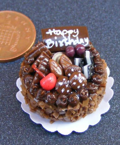 1:12 Escala Chocolate Pastel de Cumpleaños Tumdee Muñecas Casa Accesorios NC84