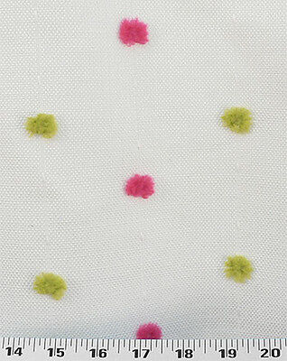 Drapery Upholstery Fabric Embroidered Chenille Polka Dots on Eggplant Base Cloth
