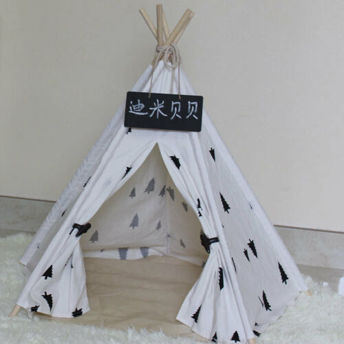 White Pet Tipi Teepee Tent House Durable Foldable Dog Cat Bed Kennel House Pine