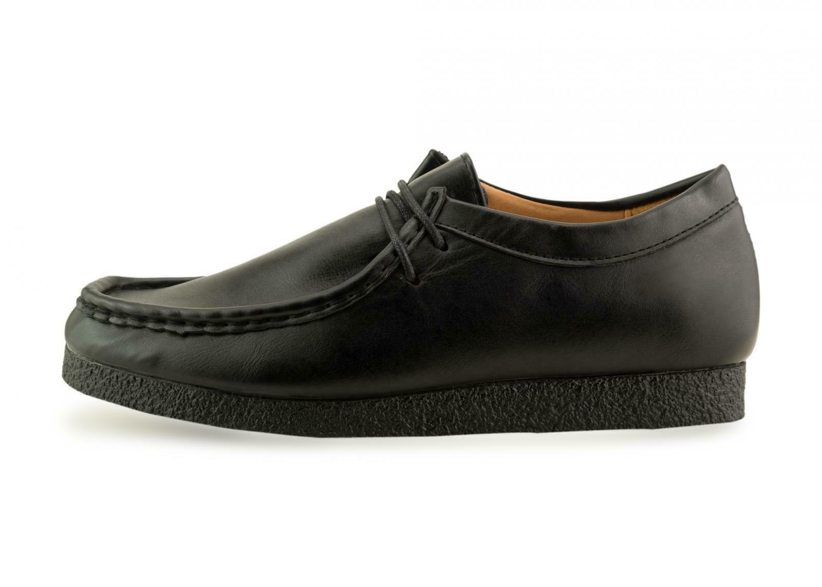 New Mens Suede Leather Lace Up Moccasin all Black Sole Shoes Size 6 7 8 9 10 11