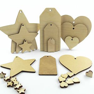 Wooden mdf hearts stars and luggage tags craft shapes for Wooden hearts for crafts