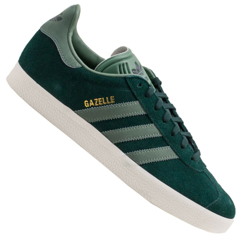 Adidas Originals Gazelle Trainers Leather Shoes Green Night Tracegreen Bz0031