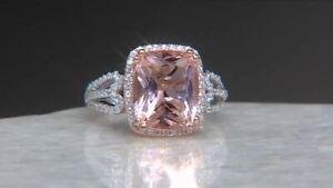 1-60Ct-Cushion-Cut-Morganite-Diamond-Halo-Engagement-Ring-14K-White-Gold-Finish